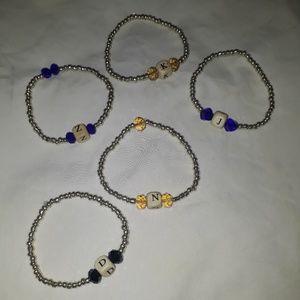 ☺5pc alphabet bracelet